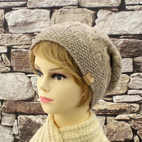British wool light brown beanie knitted womens hat Falklands cable