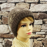 Brown fairisle beanie British wool knitted womens hat Falklands
