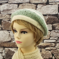 British wool beret women's winter hat cream and green knitted Masham wool