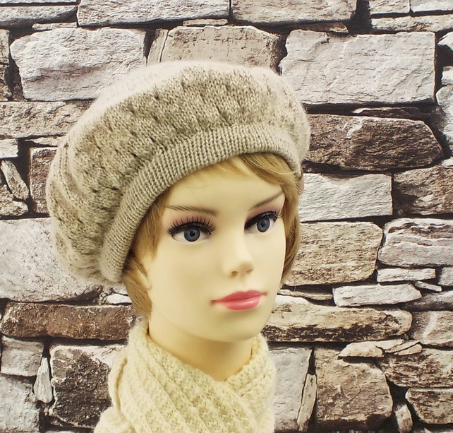 British wool beret women's winter hat fawn beige knitted Wensleydale