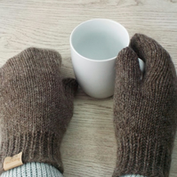 Knitted wool mittens natural grey brown British Shetland wool and BFL wool