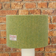 Harris Tweed large drum lampshade green herringbone wool fabric table lamp shade