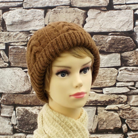 Castlemilk Moorit beanie hat brown British rare breed wool cable design