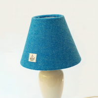 Harris Tweed cone lampshade bright blue British wool fabric table lamp shade