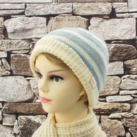 Knitted beanie blue and cream stripes British Wensleydale wool