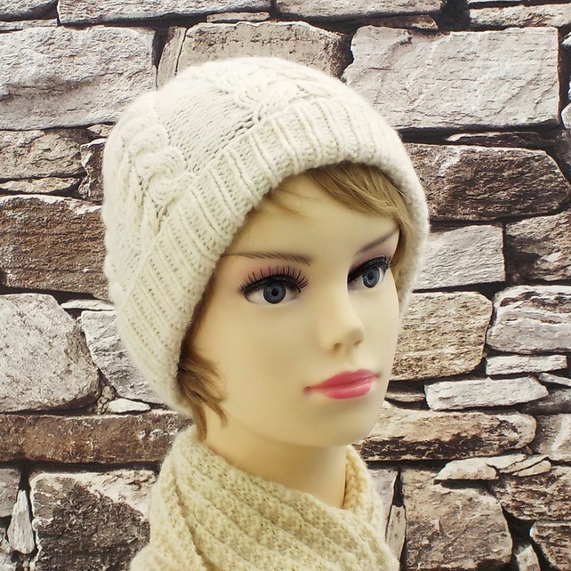British wool beanie cream knitted ladies hat natural gifts for women