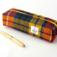 Harris tweed pencil case bright tartan toiletries bag cosmetics brush pouch