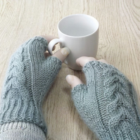 Knitted wool fingerless gloves Wensleydale British wool duck egg aqua