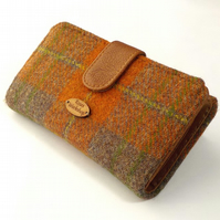 Harris tweed orange and brown tartan large purse wallet card holder