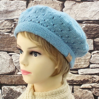 British wool beret women's winter hat pale blue knitted Wensleydale