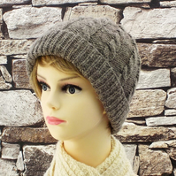 Pure wool women's beanie grey Shetland hand knitted ladies hat cable design