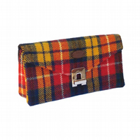 Harris tweed bright tartan clutch bag large ladies purse