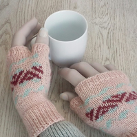 Pale pink fingerless gloves British wool Fairisle hand knitted wristwarmers