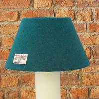 Harris Tweed large cone lampshade teal sea green wool fabric table lamp shade