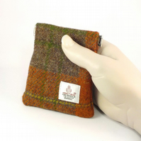 Harris tweed mens purse orange and brown pocket change gents flex top coin purse