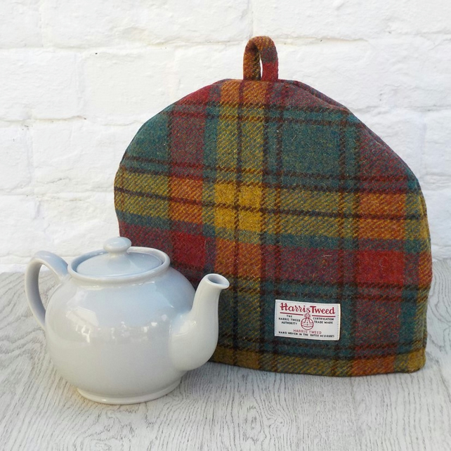 Harris Tweed tea cosy, teapot cover rose teal yellow fabric tea cozy.
