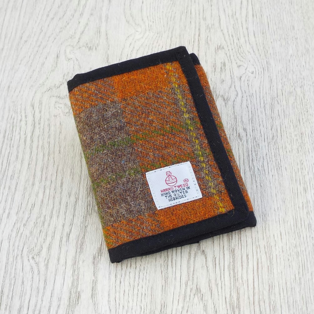 Harris tweed wallet orange and brown billfold gift for men