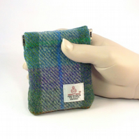 Harris tweed mens purse green and purple pocket change gents flex top coin purse