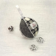 Harris tweed bauble Christmas tree decoration black and white fabric ornament