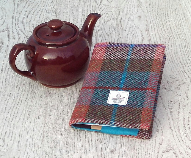 Harris tweed covered A6 diary notebook brick red turquoise green
