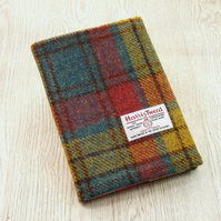 Harris tweed covered A5 notebook or diary teal and rose