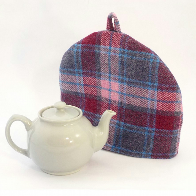 Harris Tweed tea cosy, pink and blue check teapot cover tartan fabric tea cozy.