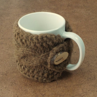 Manx Loaghtan mug cosy handknit pure British wool with handmade wooden button.