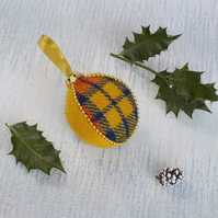 Harris tweed bauble Christmas tree decoration yellow tartan fabric ornament