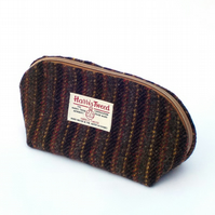 Harris tweed toiletries bag grey and black striped washbag