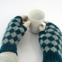 Sea green fingerless gloves diamond pattern hand-knit British wool