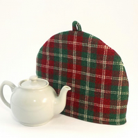 Christmas Cosy Harris Tweed red and green tea cosy cozy teapot cover