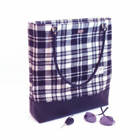 Harris tweed large tote bag in black and white shopper carry-on hand luggage
