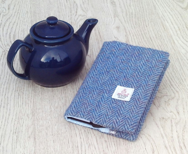 Harris tweed covered A6 diary notebook blue purple herringbone