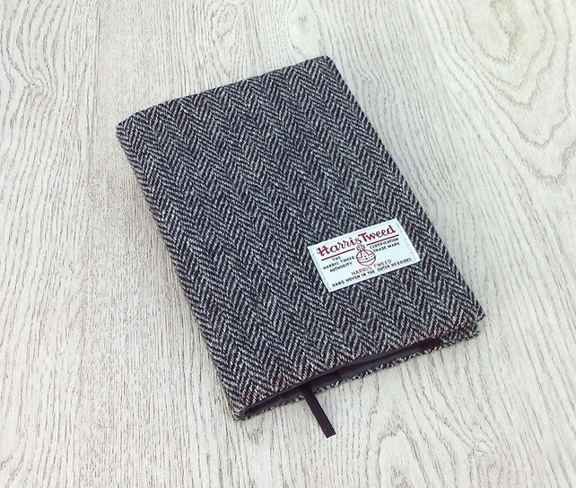 Harris tweed covered A5 notebook or diary black grey herringbone