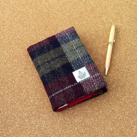 Harris tweed covered A6 diary notebook wine red olive green