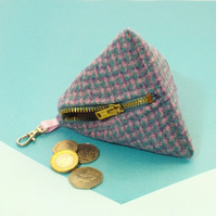 Harris tweed purse pyramid coin purse blue pink dogtooth gift for Mum
