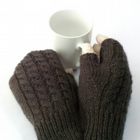 Knitted wool fingerless gloves dark grey charcoal soft British wool