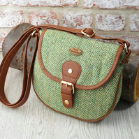 Harris tweed shoulderbag green and cream herringbone cross body messenger bag
