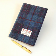 Harris tweed covered A5 notebook journal blue and purple diary