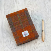 Harris tweed covered A6 diary notebook orange and brown