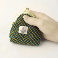 Harris tweed purse blue yellow kiss clasp coin pouch