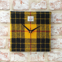MacLeod tartan Harris Tweed square clock wool fabric black and yellow
