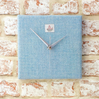 Harris Tweed square clock pale blue British wool fabric wall art housewarming