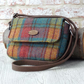 Harris tweed shoulderbag rose teal yellow cross body messenger bag