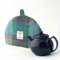 Harris Tweed small tea cosy, green and purple 2 cup teapot cover fabric cozy.