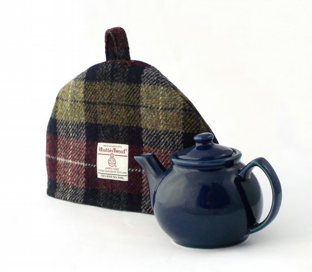Harris Tweed small tea cosy, wine red olive green 2 cup teapot cover fabric cozy