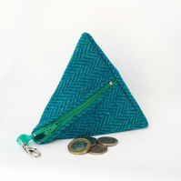 Harris tweed purse pyramid coin purse teal herringbone sea blue green