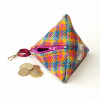 Harris tweed purse pyramid coin purse bright multicolour fabric purse