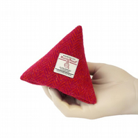 Harris tweed purse pyramid coin purse pink and orange herringbone fabric purse