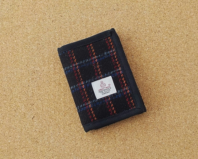 Harris tweed fabric wallet black with bright squares billfold gift for men